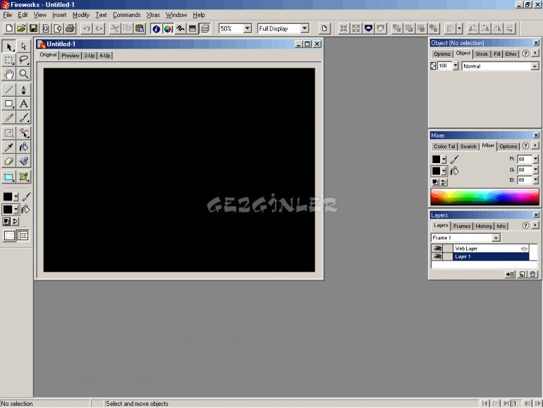 Adobe fireworks ekran görüntüleri