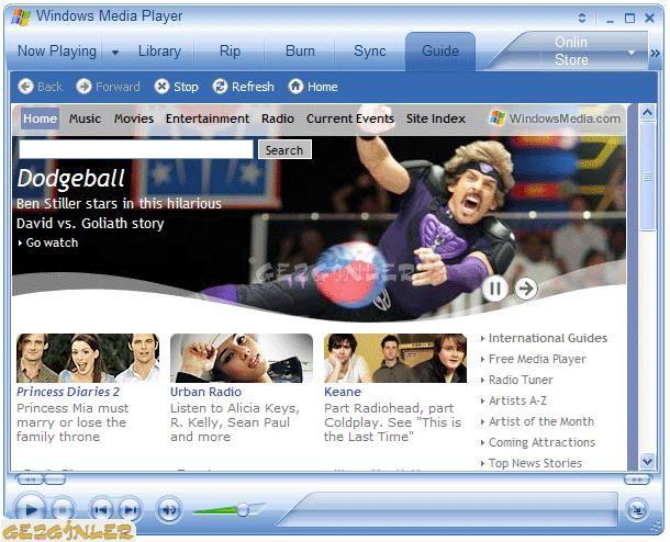 Windows Media Player  Ekran Goruntusu Gezginler