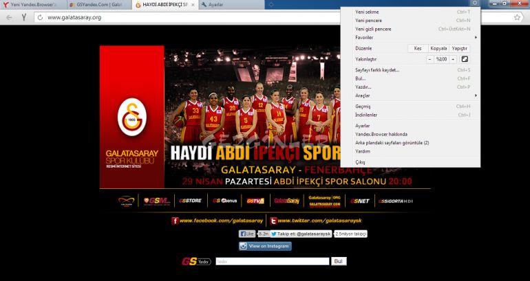 Yandex.Browser Galatasaray Ekran Görüntüleri
