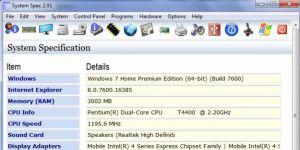 System Spec Ekran Görüntüsü