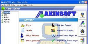 AKINSOFT Adres Etiket Ekran Görüntüsü