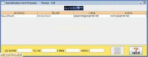 Aydsoft Adres Kayıt Programı Ekran Görüntüsü
