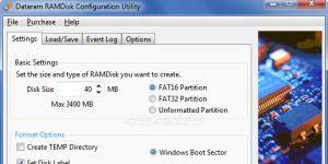 Dataram RAMDisk Ekran Görüntüsü