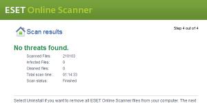 ESET Online Scanner Ekran Görüntüsü