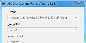 HP USB Disk Storage Format Tool Ekran Görüntüsü