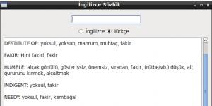 Linux için İngilizce Sözlük Ekran Görüntüsü