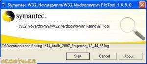 MyDoom Temizleme Arac� Ekran G�r�nt�s�