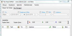 Nur Kasa Defteri - Kasa Takip Programı Ekran Görüntüsü
