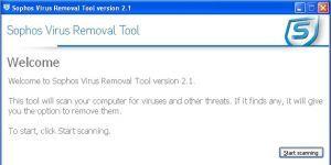 Sophos Virus Removal Tool Ekran Görüntüsü