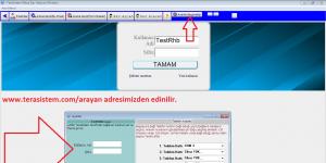 Tera Arayan numara gösterme, e-rehber programı Ekran Görüntüsü