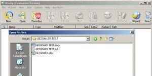 WinZip Ekran Görüntüsü