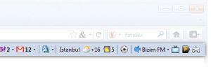 Yandex.Bar İnternet Explorer Ekran Görüntüsü