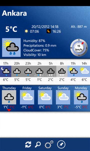 Windows phone için 5 günlük hava durumu ekran görüntüleri
