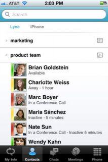 Microsoft Lync 2010 for iPhone Resimleri