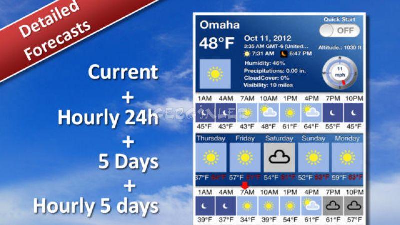 Iphone ve ipad için 5 günlük hava durumu ekran görüntüleri
